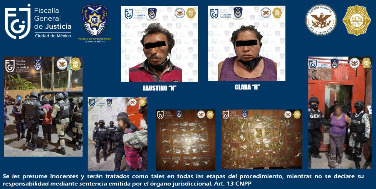 Aseguran FGJCDMX, SSC Y GN posible narcótico y detienen a dos personas, durante cateo en GAM