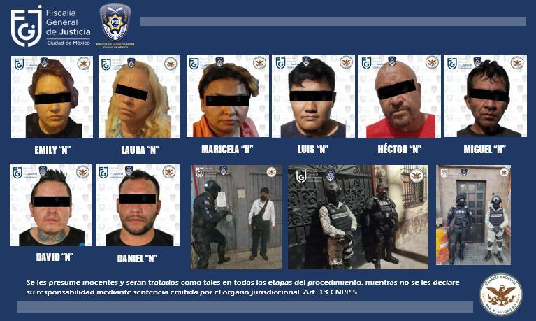 ¡Vídeo! FGJCDMX y Guardia Nacional aseguran posible narcótico y detienen a ocho personas