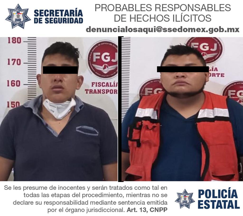 Policías de la Secretaría de Seguridad detienen en flagrancia a dos probables responsables del delito de robo con violencia a transporte de carga