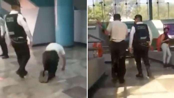 ¡Invalido sale caminando del Metro! cuando policías piden se retire
